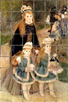 Renoir ~ La Promenade tile mural on tumbled marble tiles. Beautiful impressionistic wall mural for a kitchen bathroom, dining room.