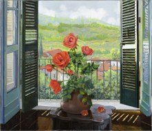 Persiane by Guido Borelli.. Transport yourself through the window to a glorious Italian landscape.. Perect for a kitchen or bathroom tiled backsplash