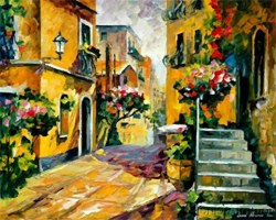 Sun of Sicily by Afremov - Consider this beautiful Italian town scape as a backsplash for your kitchen